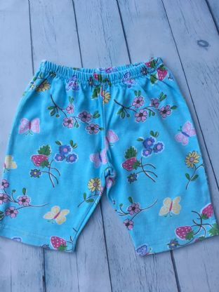Mini Boden legging shorts blue floral age 2-3